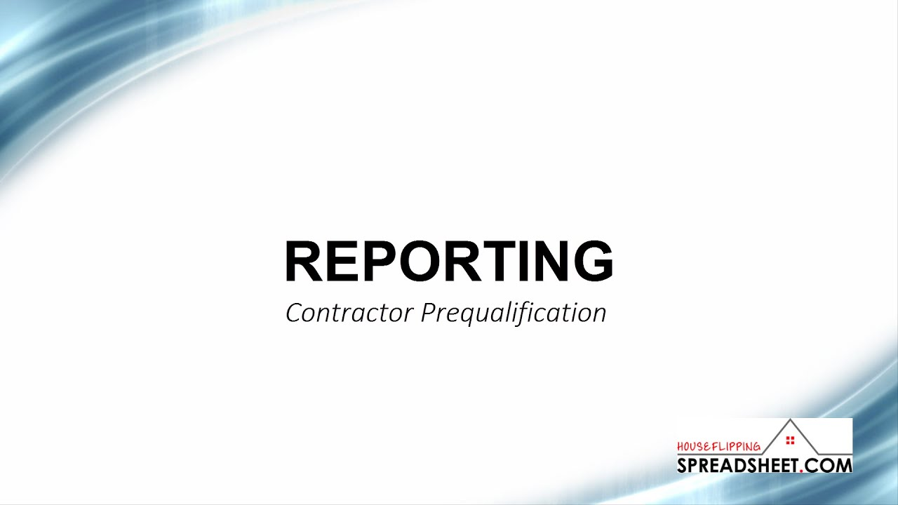 Contractor Prequalification Form - YouTube
