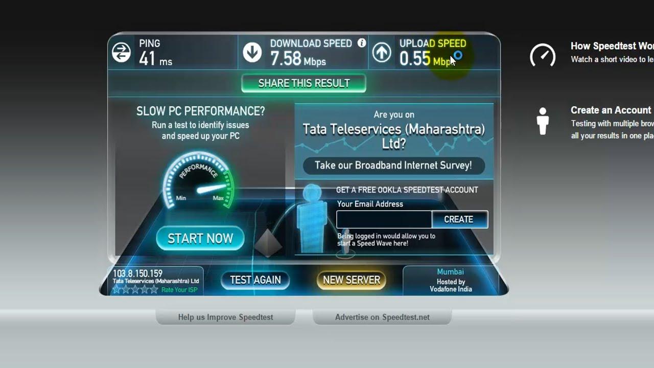 Tata Docomo Broadband 8 MBPS Speed test 1449 Plan - YouTube