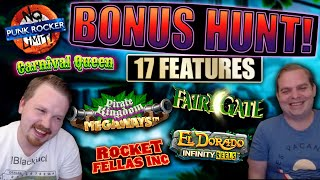 €5000 Bonus Hunt #19, Results from 17 slot features