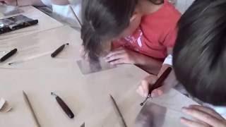 Atelier gravure à Séné mai 2015 pointe sèche