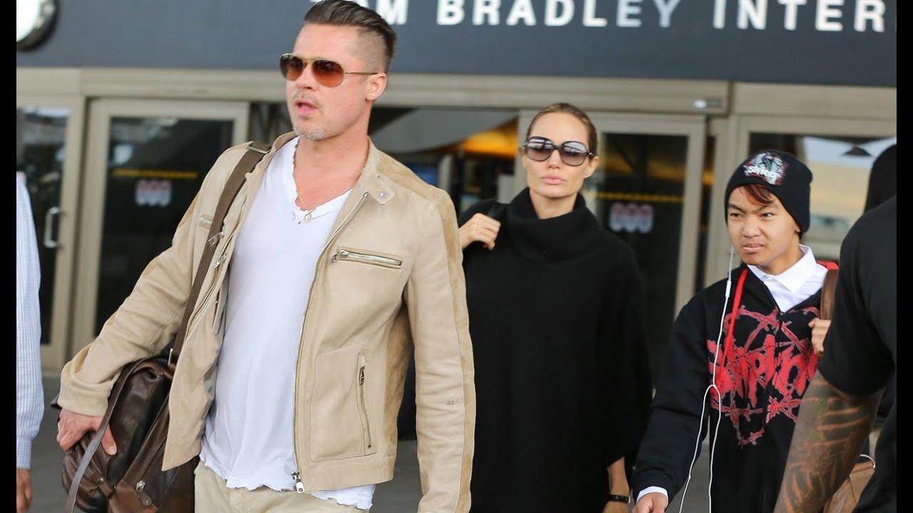 Angelina Jolie & Brad Pitt Land in Los Angeles with Maddox ...