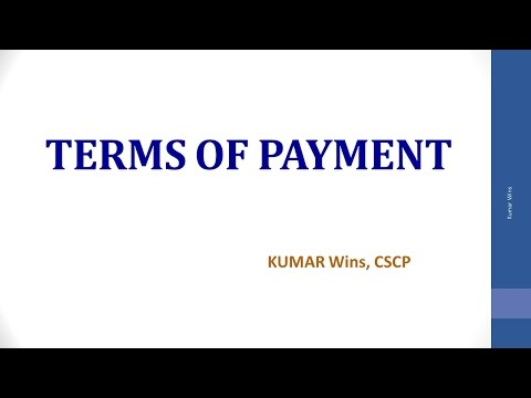 Terms of Payment Part - I
