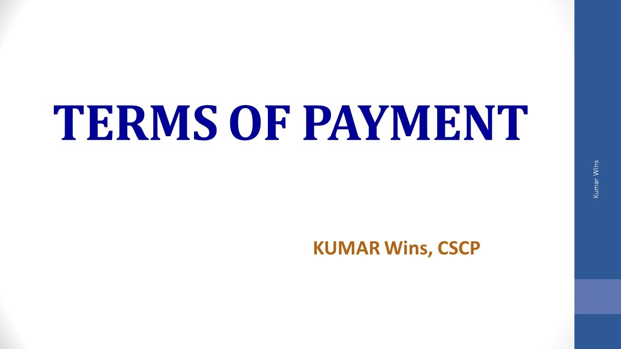 Terms of Payment Part - I - YouTube
