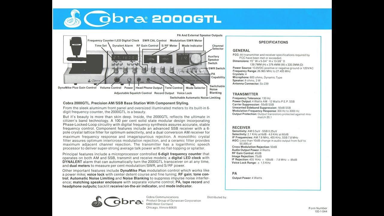 Cobra 2000 GTL OLD RADIO NIGHT/ EAST COAST VIDEOGATES