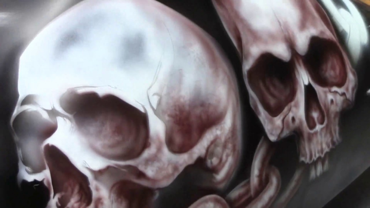 Harley Davidson Tank - Skull Heads Chain Airbrush Stencil