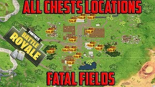 Search Chests in Fatal Fields (ALL 14 CHESTS LOCATIONS)- FORTNITE SEASON 5 WEEK 3 CHALLENGE