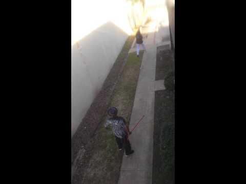 Crackhead neighbors fight with brooms