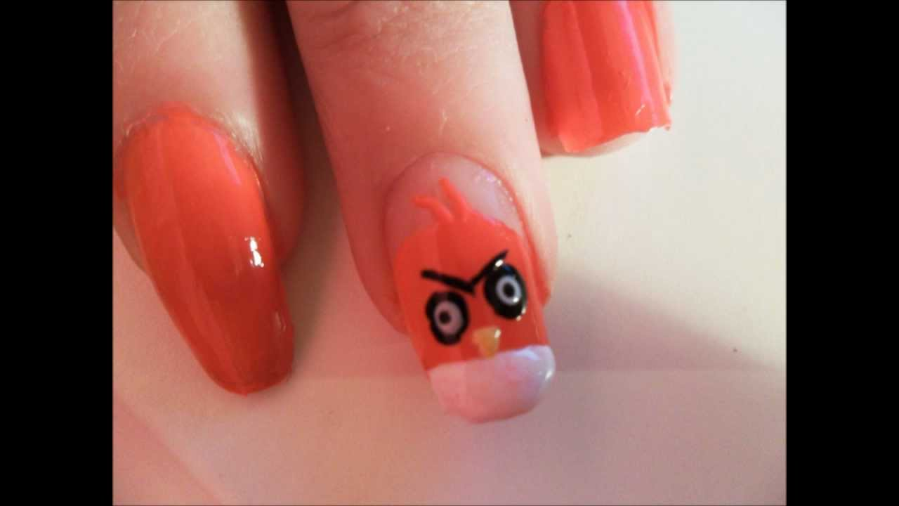 Angry Birds - red bird nail art tutorial - YouTube
