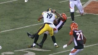 JuJu Smith-Schuster Vicious Block on Vontaze Burfict | Steelers vs. Bengals | NFL thumbnail