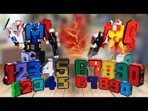 ТРАНСБОТЫ - Цифры Трансформеры. Трансформируем цифры в Трансботы машинки боевой расчет мультики!