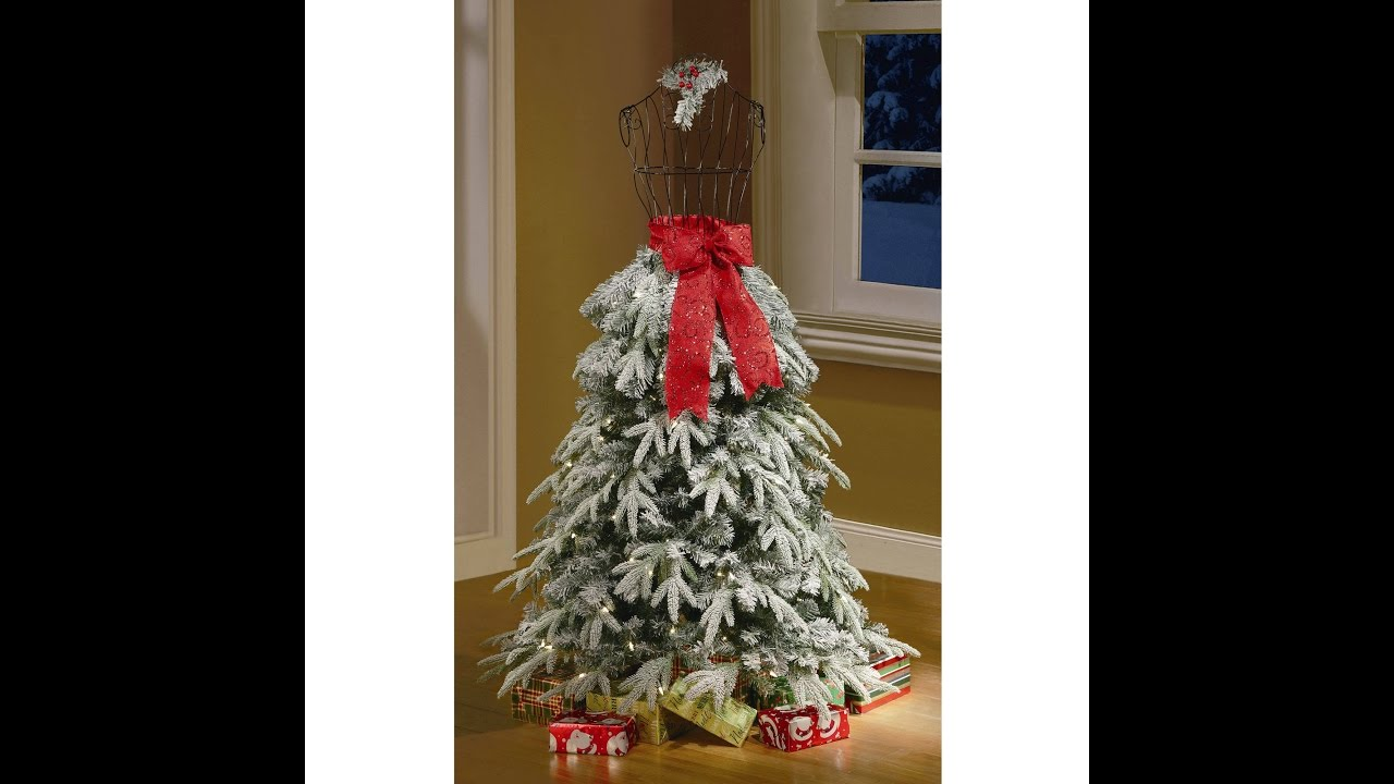 flocked christmas tree dress form mannequin 5 ft pre lit artificial holiday snow