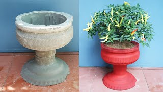 Great creations from cement - Beautiful cement pot ideas from plastic bottles