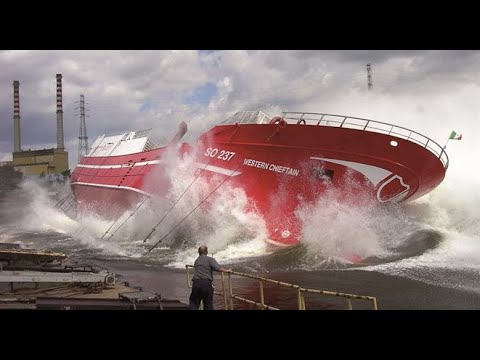 30+ Dangerous Big Ship Launch Gone Bad ! , CLOSE CALLS and Huge WAVES