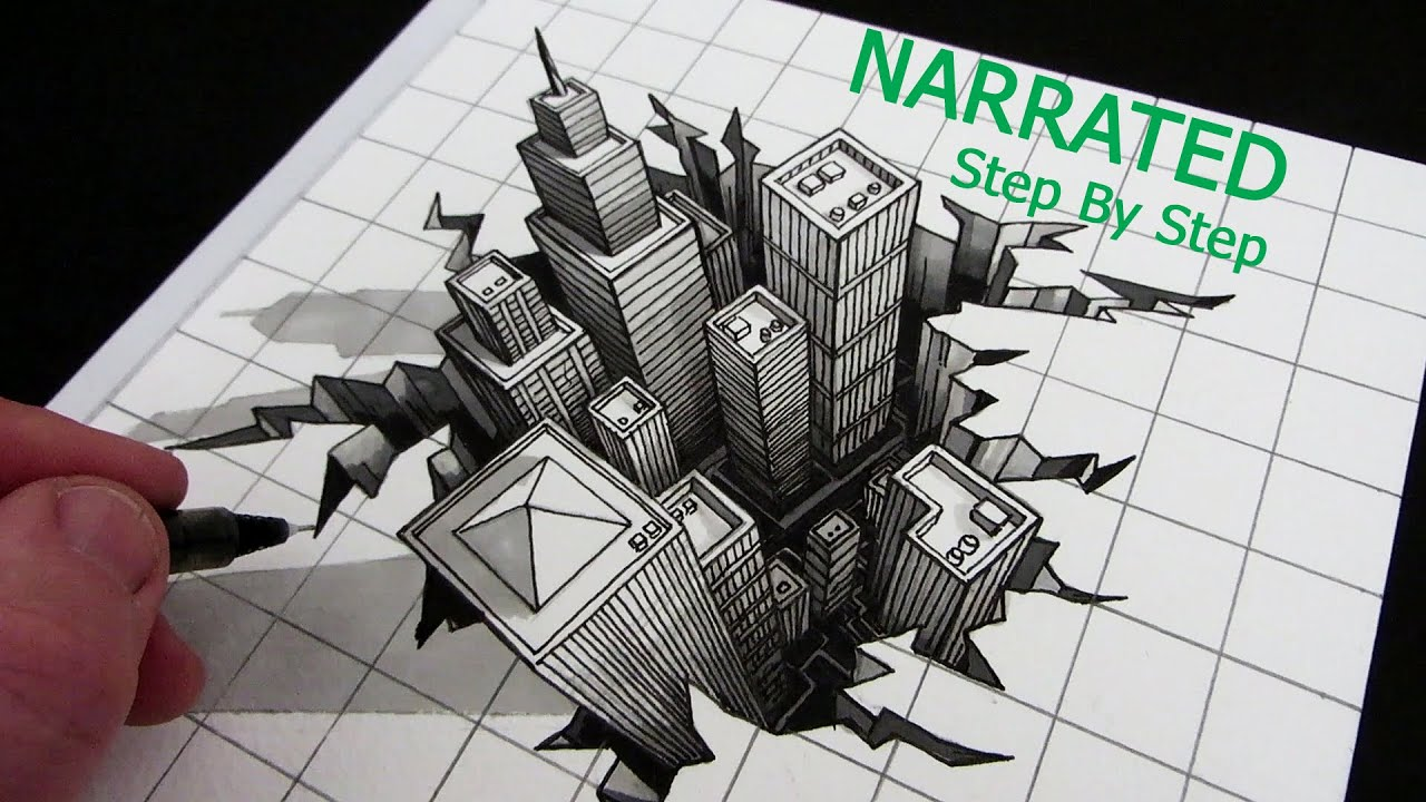 How To Draw A 3d City Optical Illusion Narrated Step By
