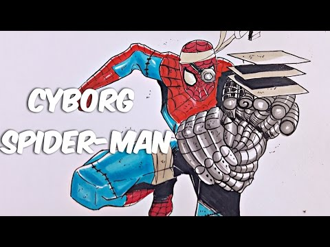 Cyborg Spiderman Drawing from Marvel Comics