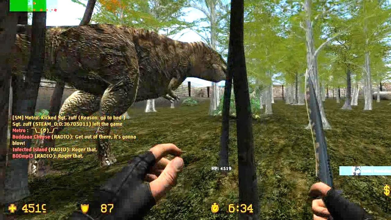 Counter Strike Source Zombie Escape mod online gameplay on Jurassic Park Story map