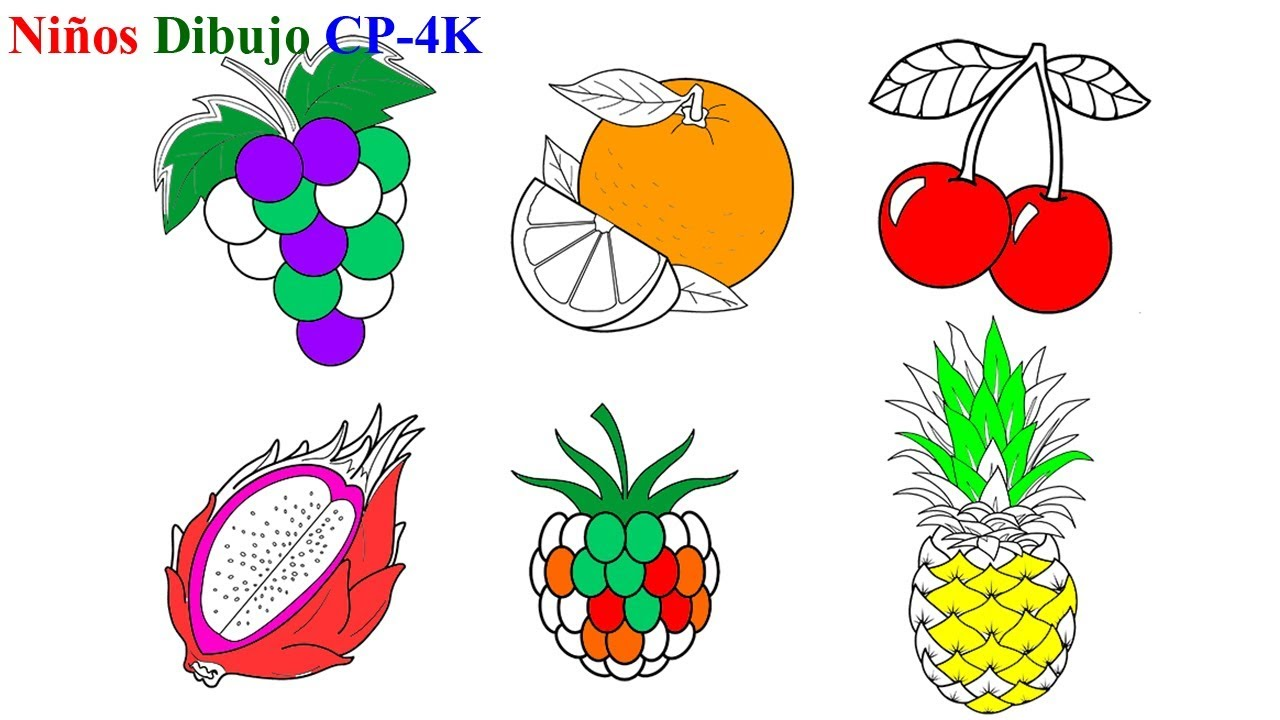 Dibujar frutas coloridas para niños | Cómo dibujar fruta colorida para niños