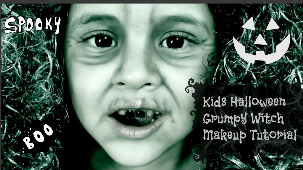 Kids Halloween Grumpy Witch Makeup Tutorial - YouTube