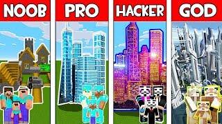 Minecraft NOOB vs PRO vs HACKER vs GOD : FAMILY SUPER CITY in Minecraft! Animation