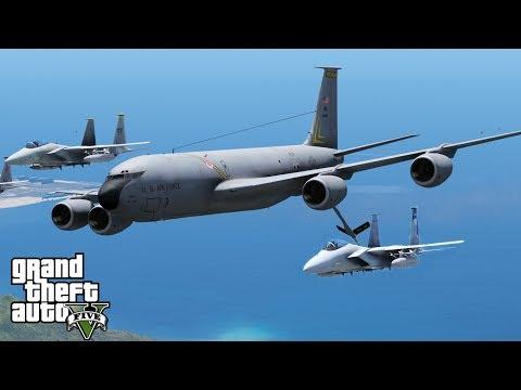 GTA 5 Military Patrol | US Air Force KC-135R Stratotanker | Aerial Refueling F-15 Fighter Jets