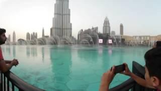 Dubai Mall Fountains near Burj Khlifa - 360 degrees 4K resolution