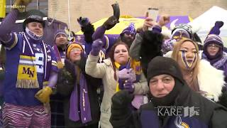 Minnesota Vikings tailgaters find creative ways to combat the cold