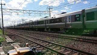 223系快速電車はのんびり通過中❗~だって少し前を普通が走ってて距離が詰まってた影響みたい‼️