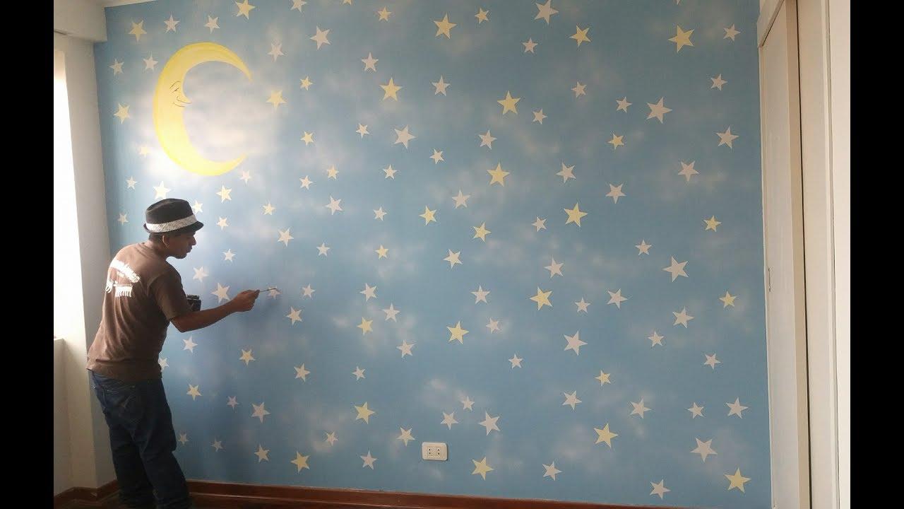 Pintura mural Como Pintar Estrellas  mural pintado con