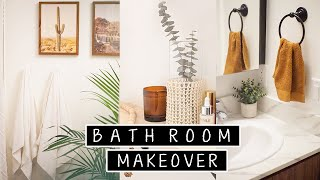 Extreme DIY Small Bathroom Makeover (Renter Friendly) | diy floor tiling & diy shelves