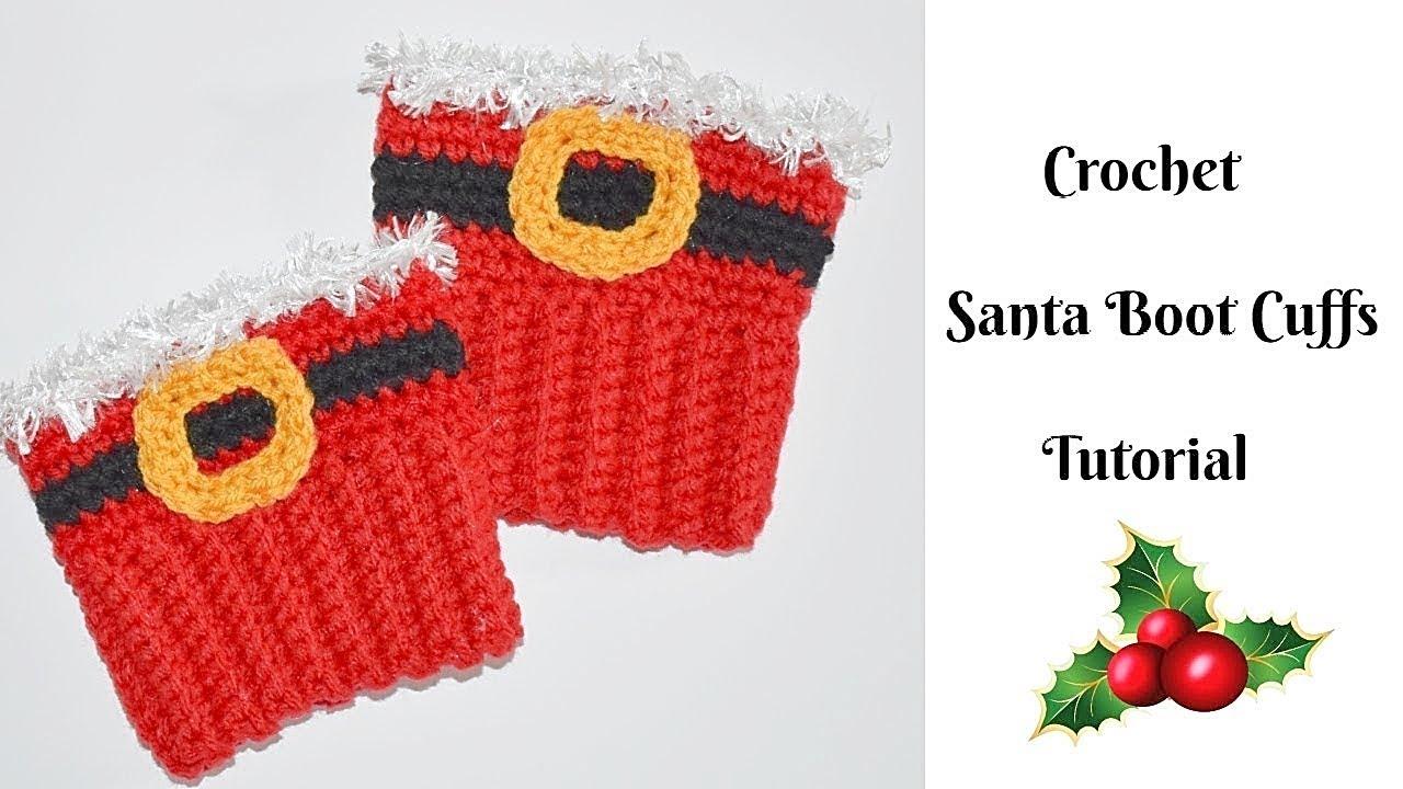 Crochet Santa Boot Cuffs Tutorial Crochet Jewel Youtube