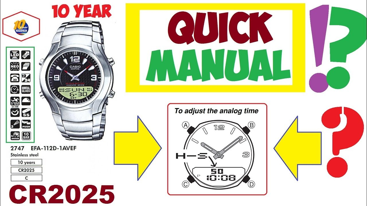 Casio Edifice EFA-112D manual 2747 How to set analog time - YouTube 1201ceca8f2