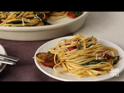 Linguine with Sausage and Greens | Cooking: How-To | Better Homes & Gardens