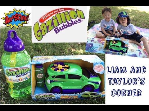 Gazillion Bubbles Bump-n-Go Bubble Car   Play Time   Liam and Taylor