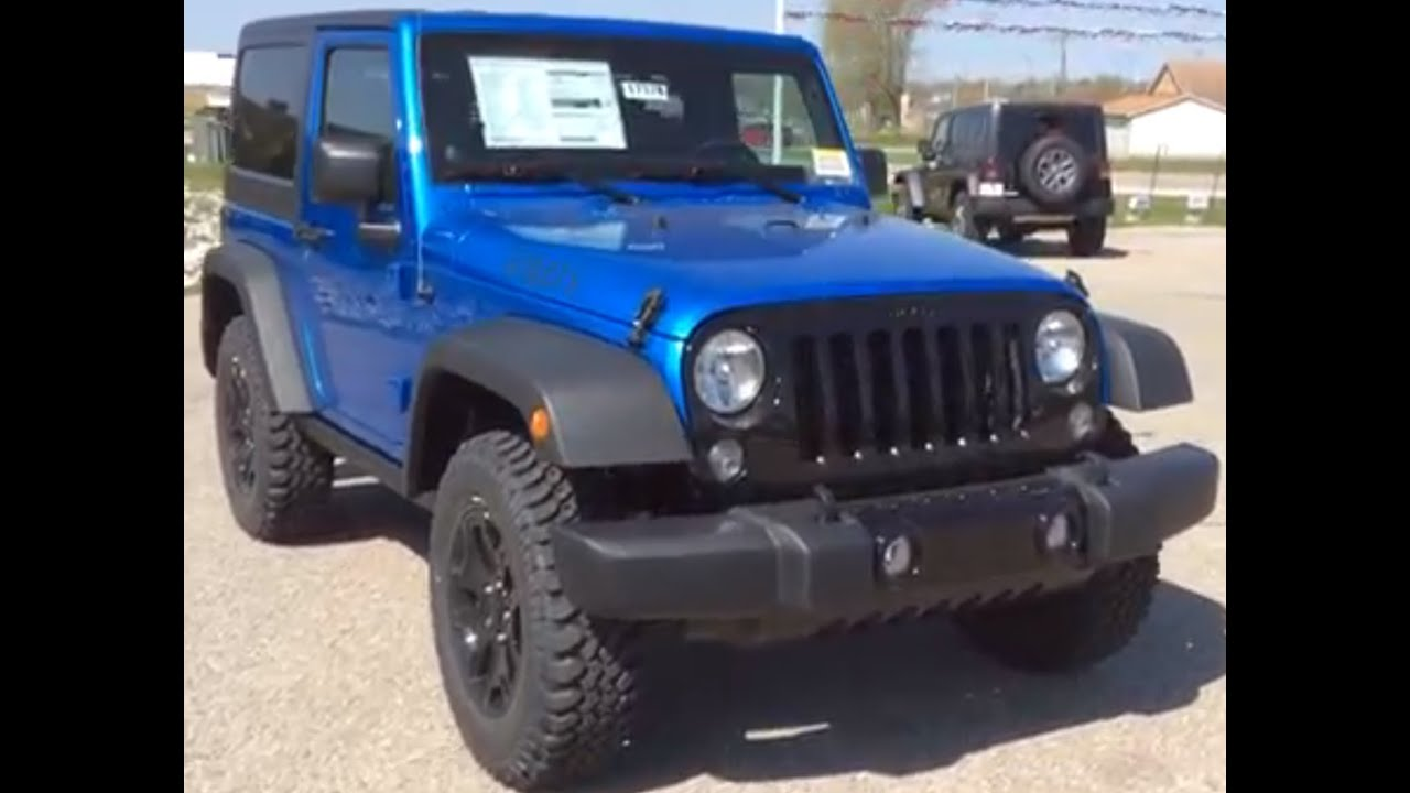 2014 Jeep Wrangler 4wd 2dr Willys Wheeler Blue 4x4 Suv