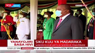 President Uhuru arrives at the Dias, First lady and Rachael Ruto observe celebrations from balcony