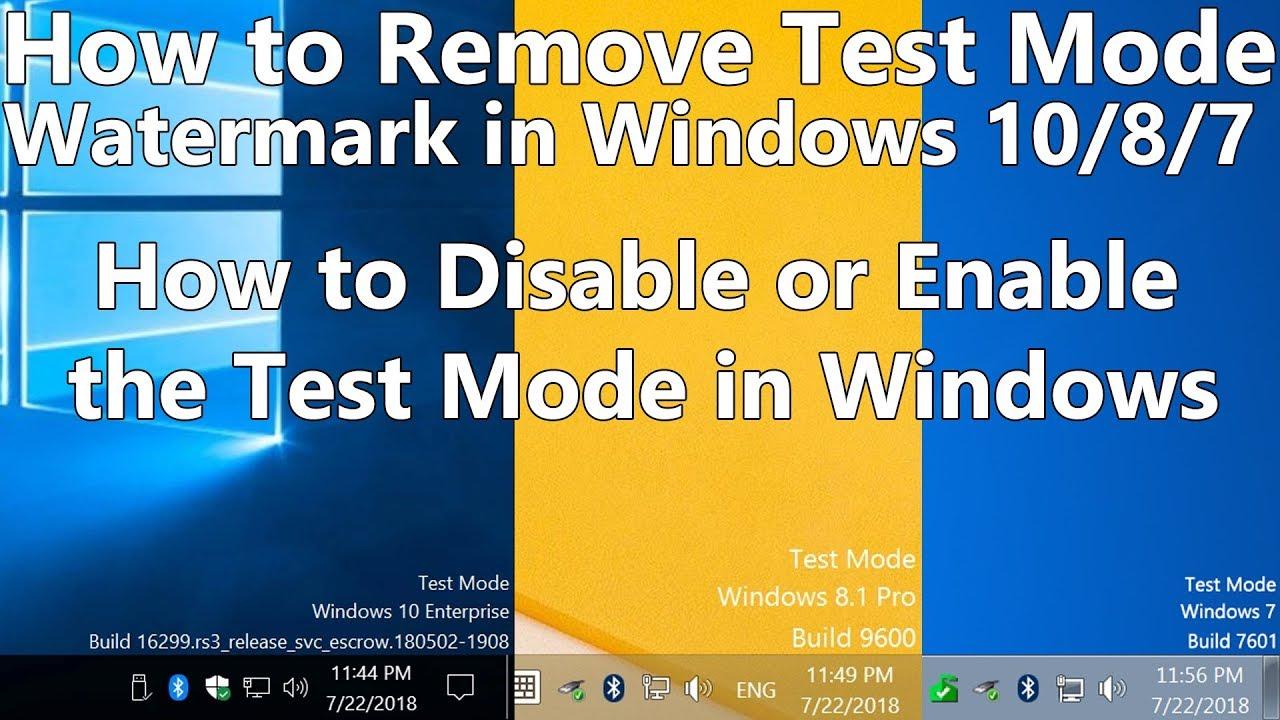 windows 10 in test mode