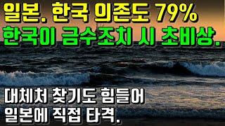 일본. 한국 의존도 79% 한국이 금수조치 시 초비상. 대체처 찾기도 힘들어 일본에 직접 타격.