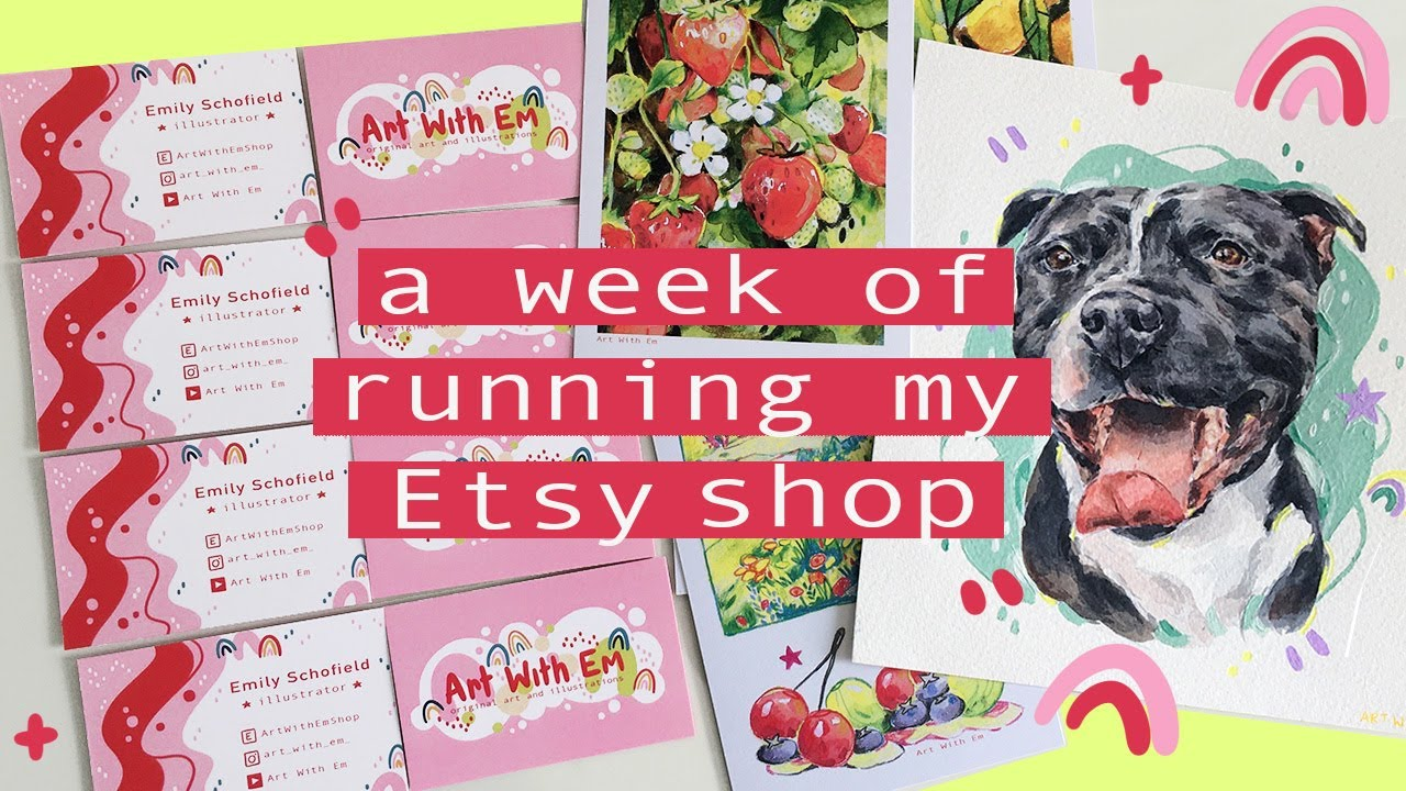 A Week of Running my Etsy Shop Ep 2! Designing Business Cards and Painting More pets