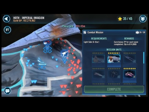 SWGOH TERRITORY BATTLES PHASE 6 COMBAT MISSIONS LIVE