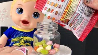 Baby Alive Snackin Luke Shawn Patrick Eats Jelly Belly Jelly Beans and POOP Slime