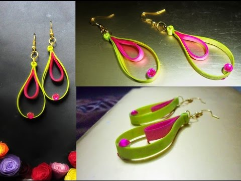 Papercraft handmade jewelry quilling paper earrings Latest model earrings  Earrings Making video