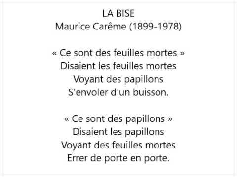 La Bise Maurice Carême