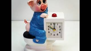 Sunko Novelty Alarm Clock Pig on a Potty - Battery Operated Piggy on the Toilet