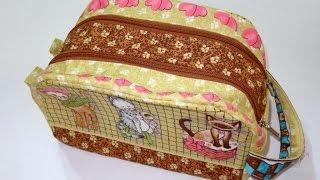 Bolsa/Necessaire em patchwork Rebeca - Bolsa - Necessaire - Patchwork - Aula bolsa patchwork