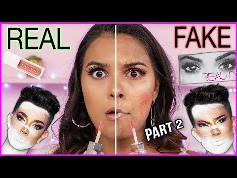 FULL FACE OF FAKE vs. REAL MAKEUP! (allergic reaction on camera!) Natalies Outlet