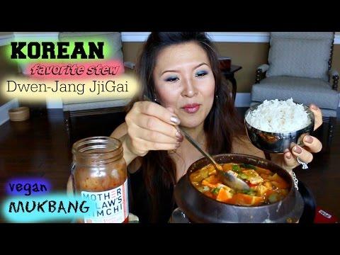 """SOYBEAN PASTE STEW aka """"DWEN-JANG JJIGAE"""" • Mukbang & Recipe • VEGAN"""