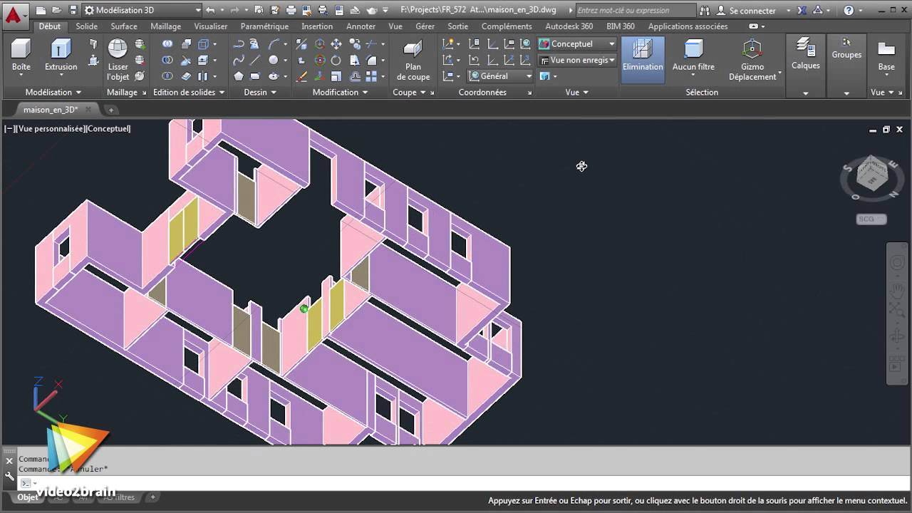 tutoriel autocad 2015 finaliser la maison en 3d. Black Bedroom Furniture Sets. Home Design Ideas