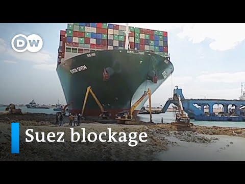 Container ship blocking the Suez Canal partially freed | DW News