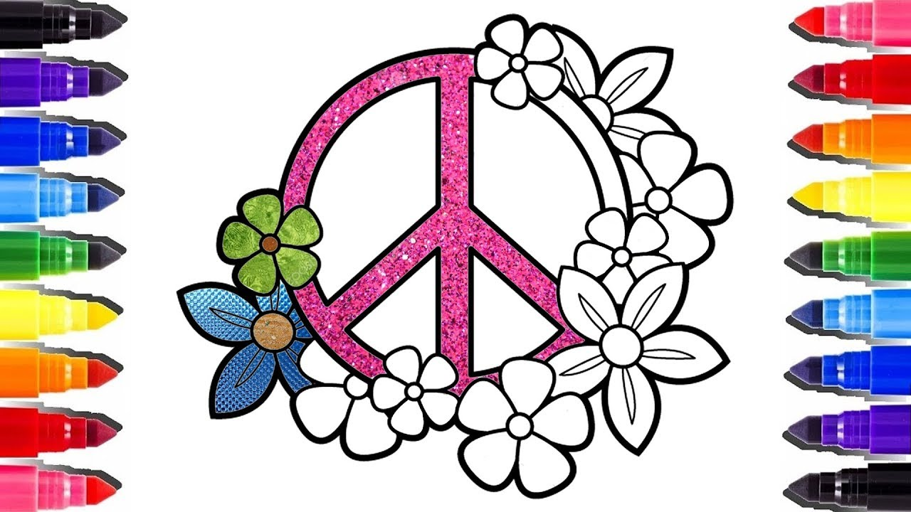 Glitter Floral Peace And Love Coloring Pages Coloriage Brillant A