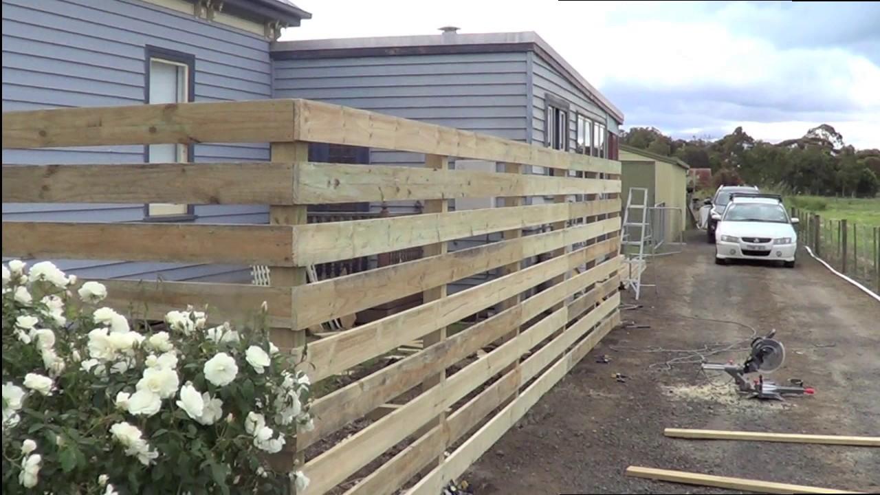building the horizontal fence part 2 youtube. Black Bedroom Furniture Sets. Home Design Ideas